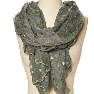 OLIVE & GOLD HEART SCARF